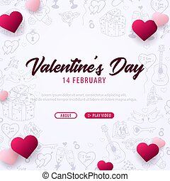Valentines Day banner with doodle background. 14 February....
