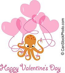 Valentines day banner with octopus