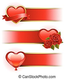 Vector illustration - Valentine's day banners with roses and heart