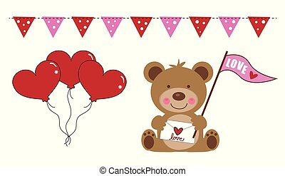 Valentines Day Bear and Balloons