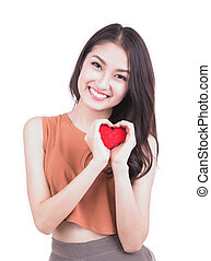Valentine's Day. Beautiful smiling woman