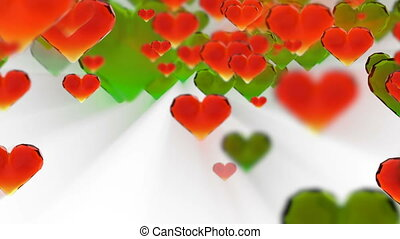Valentine's day birthday abstract background, flying chopped glass hearts on white. Loopable fullHD 3d rendering