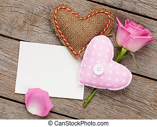 Valentines day blank greeting card or photo frame with handmaded