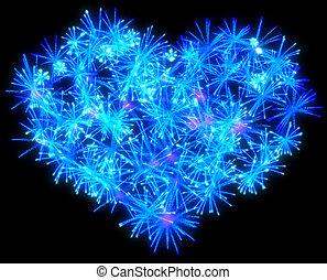 Valentines Day blue Fireworks heart shape