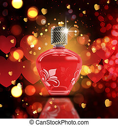 Valentine's Day bokeh lights background with 3D perfume bottle