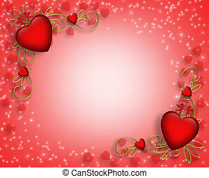 Valentines Day border - 3D Valentine illustration with...