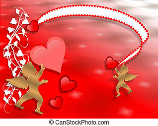 Valentines Day Border Hearts abstra
