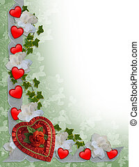 Valentines Day Border Hearts and Ribbons