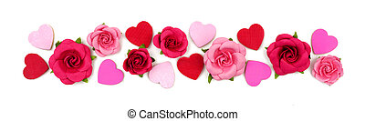 Valentines Day border of wooden hearts and paper roses isolated on white