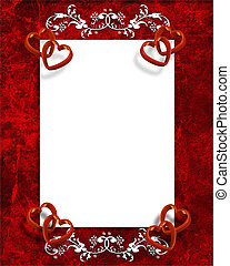 Illustrated red hearts for Valentines day card, invitation border, frame or background with copy space.