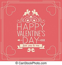 Valentines Day Border Vintage Poster Background.
