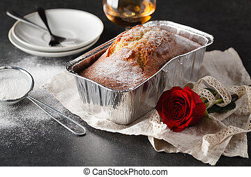 Valentines day breakfast with coffee, cake and flower