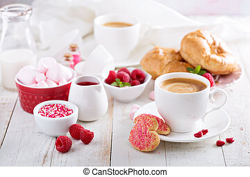 Valentines day breakfast with croissants