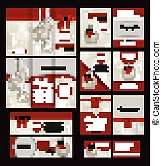 Valentines Day brochure template and set of flat valentines day icons. Abstract typographical flyer with place for text.