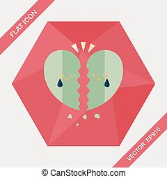 Valentine's Day broken heart flat icon with long shadow,eps10