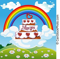 Valentine`s day cake on cloud