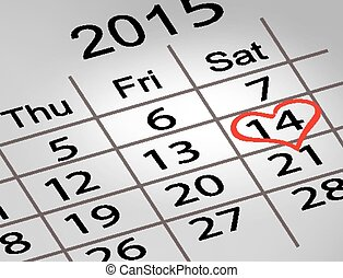 Valentine's Day Calendar. February 14 of Saint Valentines...