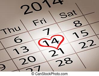 Valentine's Day Calendar. February 14 of Saint Valentines ...