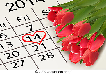 Valentine's Day Calendar. February 14 of Saint Valentines day. Vector
