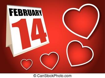 Valentines day calendar sheet february 14 - february 14...