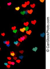 Valentine's Day card background with heart bokeh