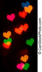 Valentine's Day card background with blur colour heart bokeh