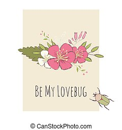 Valentines day card cute bug and flower bouquette