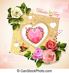 Valentine's day card. Decorated background with heart and roses