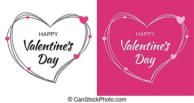 Valentines Day card design set. Heart silhouette from scribble lines and hand drawn lettering isolated on white background with pink hearts. Vector love Illustration of a Valentine's Day EPS10