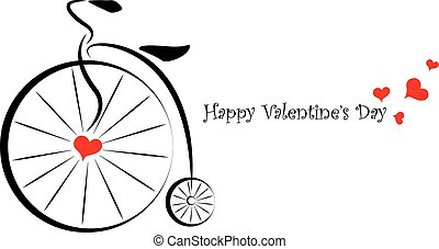 Old bicycle illustration and a love message for Valentines Day.
