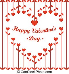 Valentines Day Card: Heart Flowers and Cherries on White Background