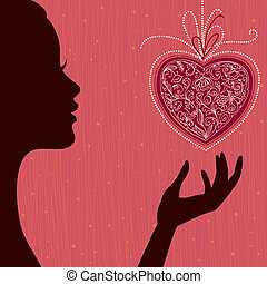 Valentine's Day Card. Vector Background with Girl and Heart