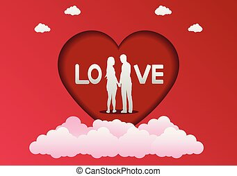 Valentine's day card in a heart frame Stand hand in hand with LOVE letters.,paper art style. vector illustrator