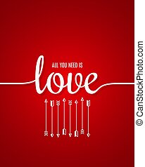 Valentines day card. Love lettering line on red background