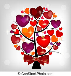 Valentines day card on the tree, vector illustration