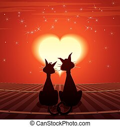 Valentines Day Card Pair of Cats on Roof Vector