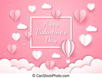 Valentine's day card paper cut style background.
