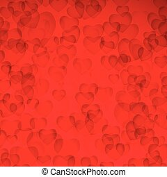 Valentines Day Card: Red background with hearts