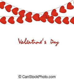 Valentines day card. Red hearts garlands on white