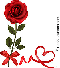 Valentine`s day card. Red roses and gift red bow. Vector...