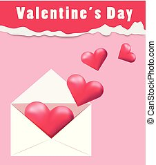 Valentine's day card template with pink background