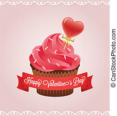 Valentine's day card with cupcake.