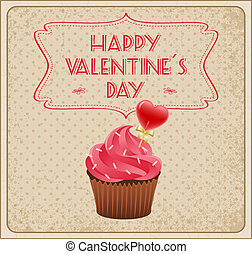 Valentine's Day Card - Valentine's day card with cupcake.