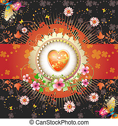 Valentine\'s day card. Heart and butterflies over springtime...