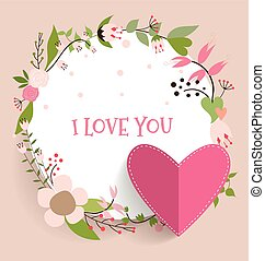 Valentine`s Day card. Vector illustration.