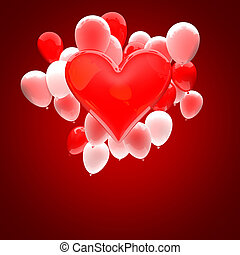 valentine's day card with 3d heart and balloon