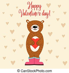 Valentine's day card with bear
