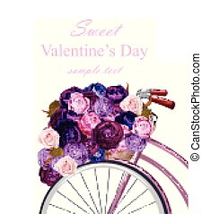 Valentines Day card with bicycle and flowers bouquet Vector. Greeting card romantic design