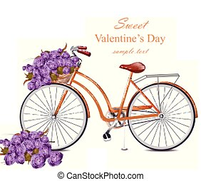Valentines Day card with bicycle and flowers bouquet Vector. Greeting card romantic designs