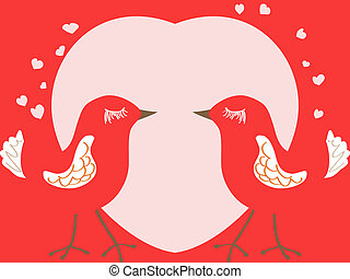 Valentine's day card with birds and heart